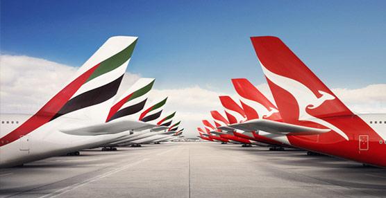 El organismo de competencia australiano autoriza de forma provisional la asociación entre Emirates y Qantas