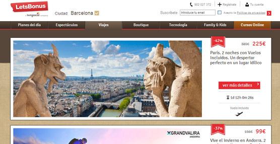 La división de viajes de LetsBonus crece un 80% en 2012 y supone ya un tercio de la facturación del grupo