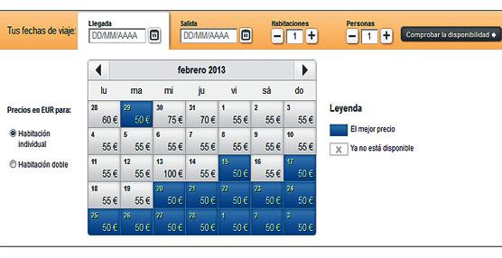 El nuevo servicio de reservas hoteleras de hotel.info ofrece un 'calendario de precios' según fechas