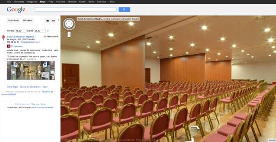 El Hotel Auditórium Madrid muestra en Google Business Photos todas sus instalaciones con fotografías 360º conectadas