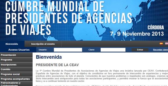 CEAV lanza una 'web' para la I Cumbre Mundial de Presidentes de Agencias de Viajes, que tendrá lugar en Córdoba