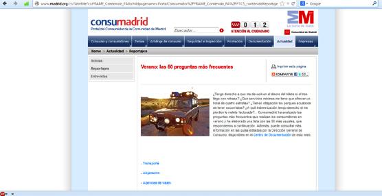 La Comunidad de Madrid elabora un catálogo con las 50 dudas más frecuentes de los consumidores durante el verano