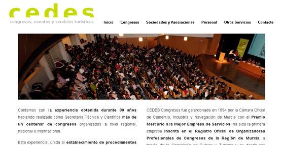 La empresa murciana Cedes Congresos renueva su página 'web' con un diseño más actual para presentar sus servicios