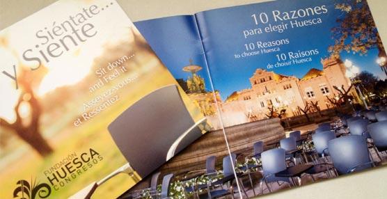 Folletos informativos que la Fundación Huesca Congresos ha distribuido en la EIBTM.