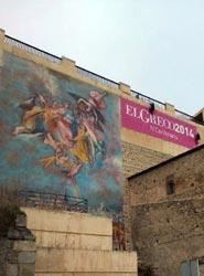 El Ayuntamiento de Toledo instala una gran lona para promocionar el Año Greco desde el Palacio de Congresos
