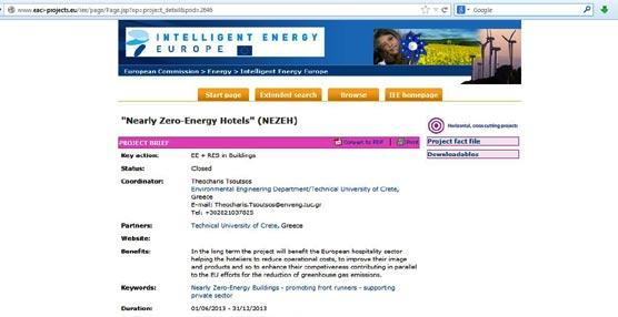 Se abre el plazo para participar en el proyecto europeo nearly Zero Energy Hotels, hoteles de consumo casi nulo