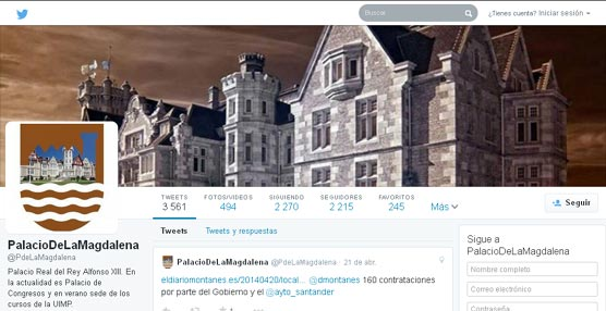 Los perfiles del Palacio de la Magdalena en redes sociales siguen sumando seguidores y superaran los 3.600 tras el primer trimestre