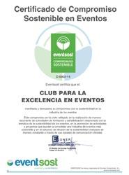 El Club para la Excelencia en Eventos recibe el certificado 'Compromiso Sostenible' de EventSost