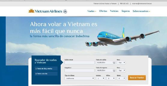 La nueva web para pasajeros de Vietnam Airlines en España, 'www.vietnamairlines.es', ofrece una navegación más sencilla.