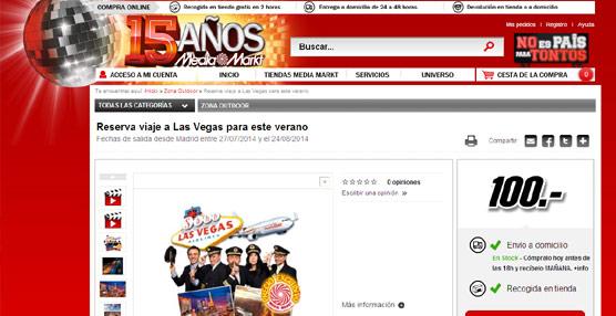 Media Markt comercializó en sus tiendas físicas y en su página 'web' viajes a Las Vegas.