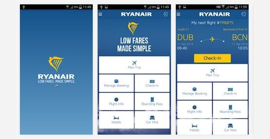 La aerolínea Ryanair presenta las últimas mejoras en su aplicación para dispositivos móviles para navegar, reservar y facturar