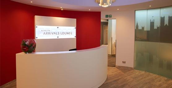 La entrada a la nueva Sala de Llegadas de Delta Air Lines en el aeropuerto de Londres Heathrow.