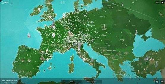 Airbnb crea un mapa interactivo en el que se puede ver la evolución de su comunidad y de #OneLessStranger