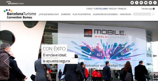 La página principal de la nueva 'web' del Barcelona Convention Bureau.