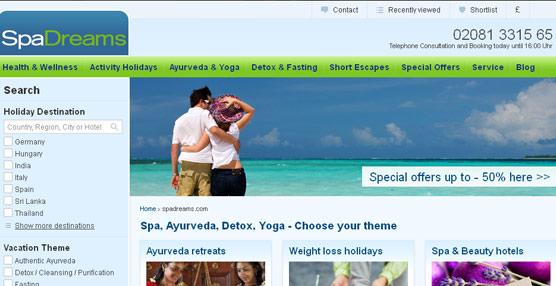 El 'portal' SpaDreams comienza a operar en el mercado español con una oferta centrada en viajes saludables