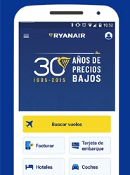 La aplicación móvil de Ryanair.