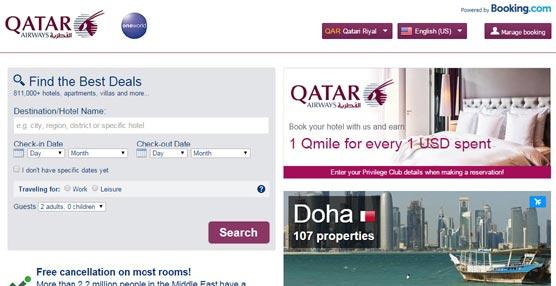 Qatar Airways renueva su página 'web' e incluye en ella la oferta de Booking.com y Rentalcar.com