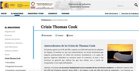 El Ministerio de Industria dedica espacio en su 'web' a la crisis de Thomas Cook