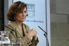 La vicepresidenta del Gobierno, Carmen Calvo, durante la rueda de prensa posterior al Consejo de Ministros.
