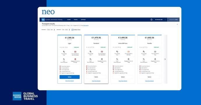 AmEx GBT facilita visualizar las tarifas con Neo