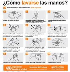 La guía incluye información sobre la manera adecuada de lavarse las manos.