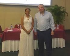 El presidente del ICTE, Miguel Mirones, con la presidenta de la Corporación de Turismo de Cartagena de Indias, Zully Salazar.