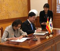 Reyes Maroto y Park Yang-woo suscriben el Memorándum de Entendimiento.