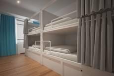 Habitación compartidad del hotel Bluesock Hostels Lisboa.