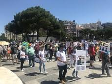Imagen de los manifestantes en la Plaza de Colón.
