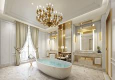 El baño de una de sus suites.