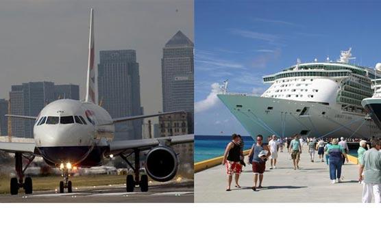 El tráfico de pasajeros en avión y en cruceros continúan en caída libre