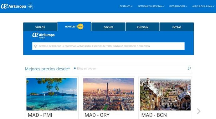 Air Europa se alía con Expedia para ofertar alojamiento