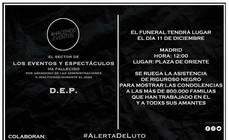 Cartel por el 'funeral' de los eventos y espectáculos.