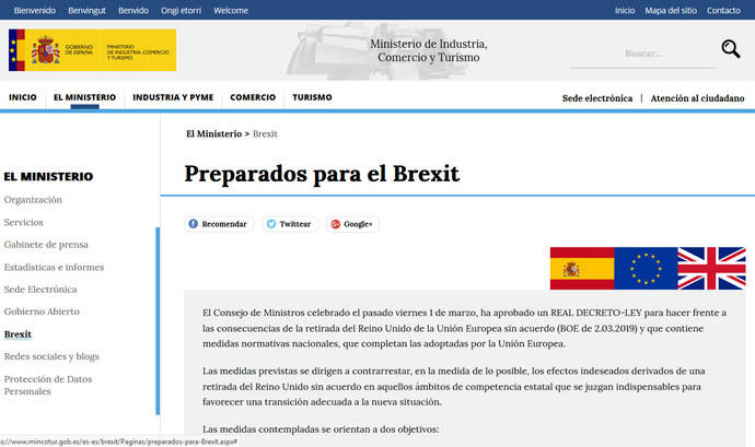 El Gobierno lanza la web 'Preparados para el Brexit'