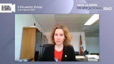 La consejera vasca de Turismo durante su intervención en el II Encuentro Virtual del Foro MICE.