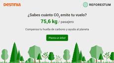 Destinia ayuda a compensar la huella de carbono
