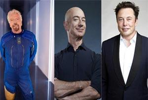 Bezos (Amazon), Branson (Virgin) y Musk compiten por liderar el Turismo Espacial