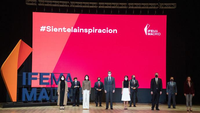 Los Reyes, Ayuso, Almeida, Llop y Maroto, en la presentación de la nueva marca de Ifema