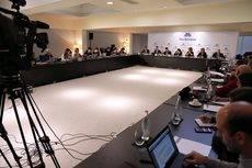 La reunión del Consell General de Fira de Barcelona, presidida por la alcaldesa de Barcelona, Ada Colau.