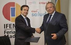 El director general de Ifema, Eduardo López-Puertas, y el vicepresidente de Spaincares, Miguel Mirones.