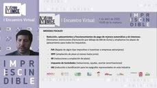 Andrés Virto, durante el I Encuentro Virtual del Foro MICE, explicando las medidas.