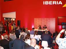 Sansavini y Mosquera, en la rueda de prensa celebrada por Iberia en Fitur.