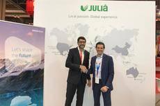 El director general del Grupo Julià, Daniel Alonso, y su homólogo en Amadeus Travel IMS, Christian Boutin.