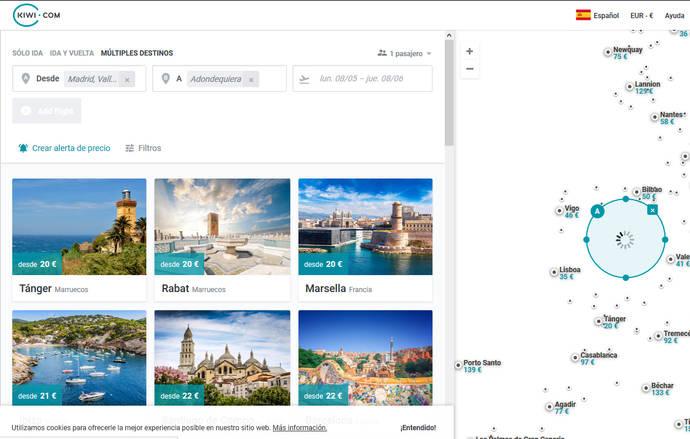 Kiwi.com desembarca en el mercado español