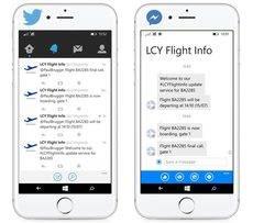 Ejemplo de mensajes automáticos sobre el estado de los vuelos.