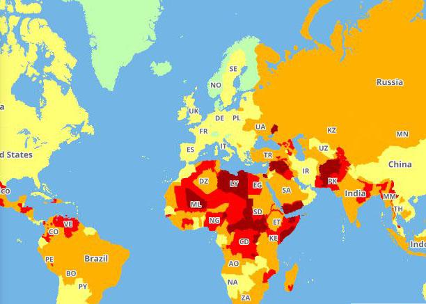 Mapa de riesgos para viajeros de International SOS