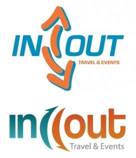 En la parte inferior, el nuevo logo de In Out Travel & Events. En la parte superior, el antiguo.