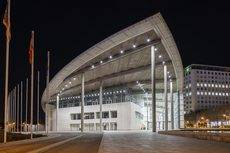 La iluminación exterior del Palacio de Congresos de Valencia.