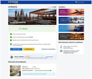 Ryanair promociona su plataforma hotelera