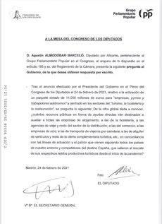 Documento presentado por el PP.